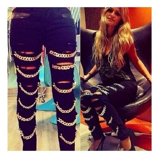 Slim džíny s řetízky - 4 velikosti