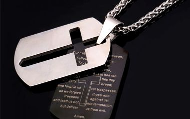 Přívěsek ve tvaru kříže s modlitbou pro muže
