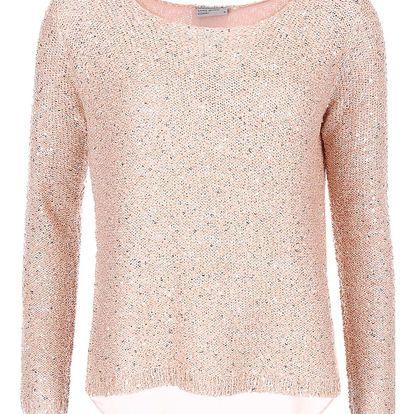 Růžový flitrovaný svetr VERO MODA Cori
