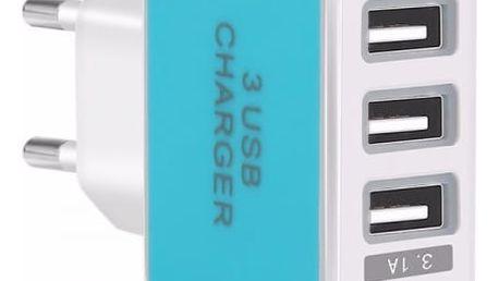 USB nabíječka s třemi porty - 5 barev