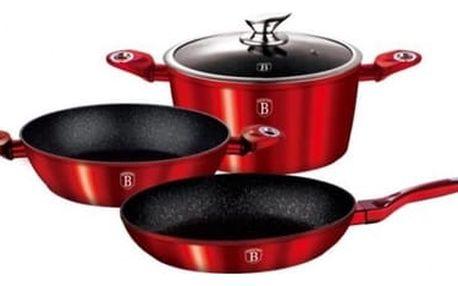 Sada nádobí s mramorovým povrchem Berlingerhaus BH 1292 Sada nádobí s mramorovým povrchem 4 ks Metallic Line červená