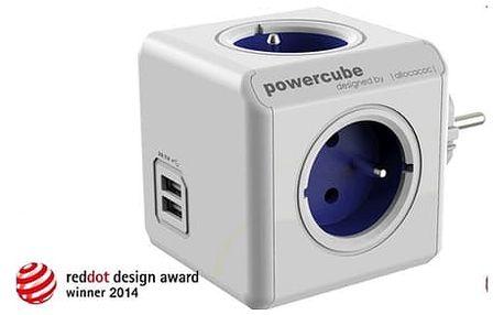 Originální rozvodná kostka PowerCube ORIGINAL USB PWC-ZUSB rozbočka-4zásuvka+USB - modrá, 2500W, 220-240V, 10A