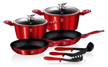 Sada nádobí s mramorovým povrchem Berlingerhaus BH 1228 Sada nádobí s mramorovým povrchem 9 ks Metallic Line červená