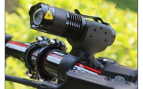 Voděodolná svítilna s příchytkou na řidítka kola a funkcí zoom