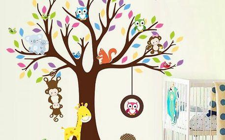 Dětská samolepka na zeď 90 x 30 cm - Stromeček se zvířátky