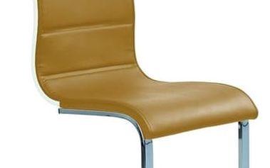 Kovová židle K104 tmavě béžová-bílá (eko kůže)