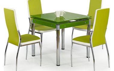 Skleněný jídelní rozkládací stůl Kent - chromovaná ocel zelená