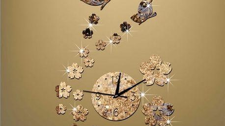 3D nástěnné hodiny s květy a motýlky - zlatá