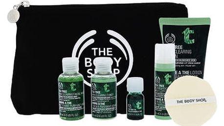 The Body Shop Tea Tree čisticí gel dárková sada W - čisticí gel 60 ml + čisticí voda 60 ml + čisticí mléko 50 ml + noční péče 30 ml + olej 10 ml + čisticí houbička + taštička