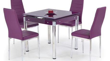 Skleněný jídelní rozkládací stůl Kent - chromovaná ocel fialová