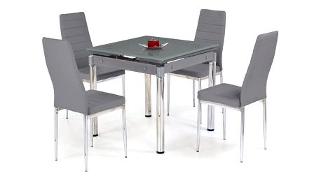 Skleněný jídelní rozkládací stůl Kent - chromovaná ocel šedá