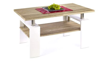 Konferenční stůl Diana H MDF bílá/dub sonoma deska