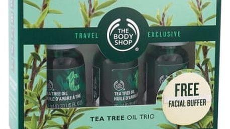 The Body Shop Tea Tree dárková kazeta unisex Tea Tree Oil 3x 10 ml + čisticí houbička