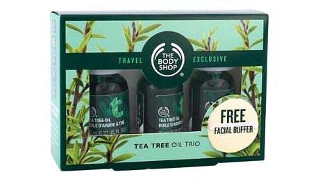 The Body Shop Tea Tree pleťové sérum dárková sada U - Tea Tree Oil 3x 10 ml + čisticí houbička