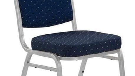Kovová židle K66 modrá/stříbrná