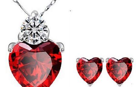 Sada náhrdelníku a náušnic - rudá srdce