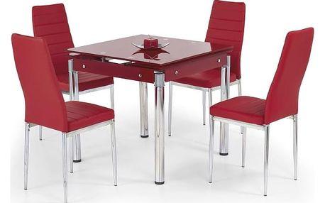 Skleněný jídelní rozkládací stůl Kent - chromovaná ocel červená
