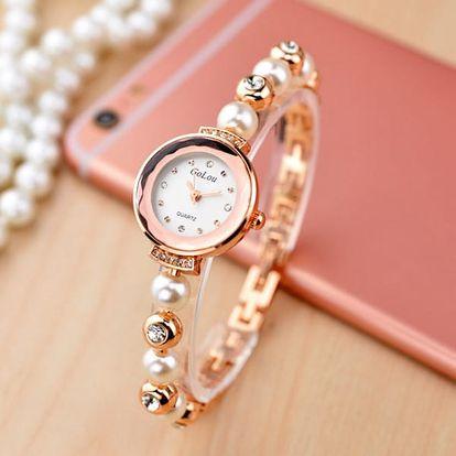 Dámské módní hodinky s páskem posetým perlami - 2 barvy