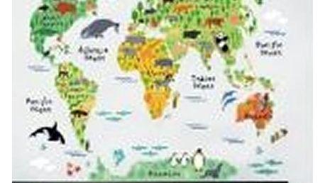 Dekorační samolepka na zeď - dětská mapa světa se zvířátky.
