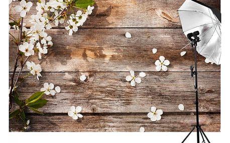 Ateliérové fotopozadí 210 x 150 cm - Prkna s květy
