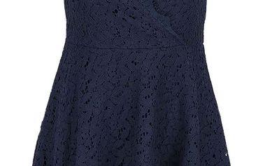 Tmavě modré krajkové šaty s překládaným výstřihem Apricot