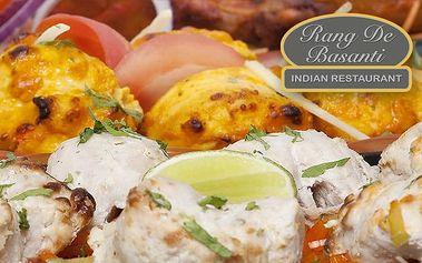 Indické masové menu se čtyřmi druhy hlavních chodů pro 1–4 osoby v Rang de Basanti v Praze