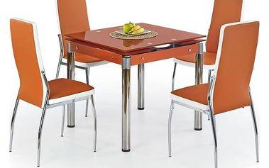 Skleněný jídelní rozkládací stůl Kent - chromovaná ocel oranžová