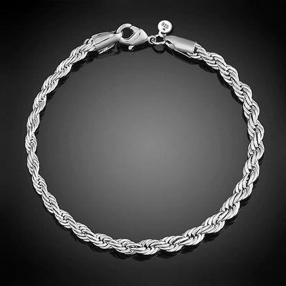 Dámský elegantní točitý náramek ve stříbrné barvě