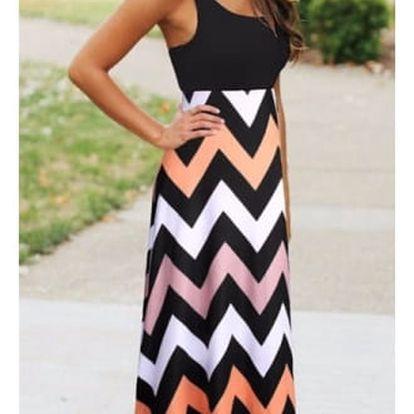 Dlouhé letní šaty s přiléhavým topem - více barevných varinat