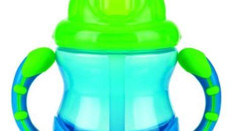 NUBY Netekoucí hrnek se zaklapávacím brčkem a držadly Flip-It™, 240 ml, modrý