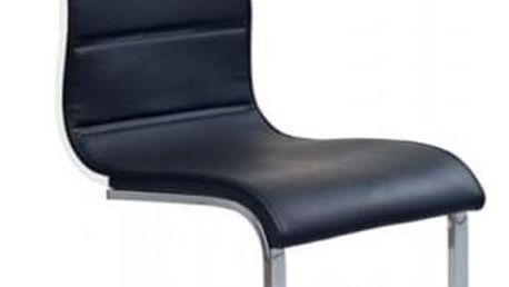 Kovová židle K104 černá-bílá (eko kůže)