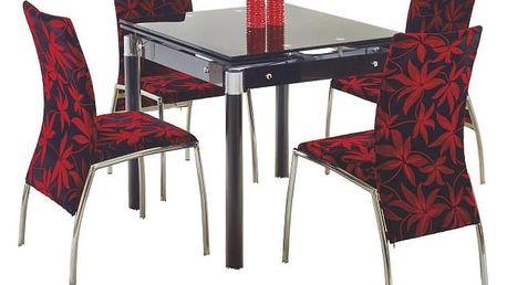 Skleněný jídelní rozkládací stůl Kent - chromovaná ocel černá
