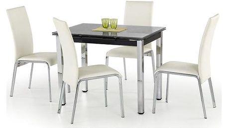 Skleněný jídelní rozkládací stůl Logan černá
