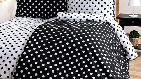 4Home Bavlněné povlečení Černý puntík, 220 x 200 cm, 2 ks 70 x 90 cm