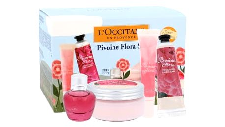 L´Occitane Pivoine Flora dárková kazeta pro ženy krém na ruce 30 ml + tělový krém 100 ml + lesk na rty 10 ml + parfémovaná voda 5 ml