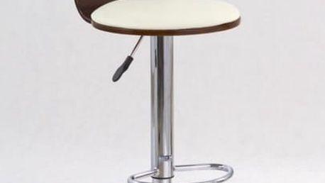 Barová židle H-7 třešňové dřevo - béžová
