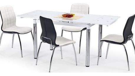 Skleněný jídelní rozkládací stůl L-31 bílá