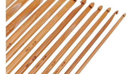 Sada 12 bambusových háčků na háčkování - různé velikosti - dodání do 2 dnů