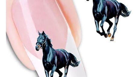 Nálepky na nehty - černý hřebec - 2 archy