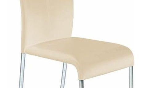 Kovová židle K138 tmavě krémová