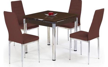 Skleněný jídelní rozkládací stůl Kent - chromovaná ocel hnědá