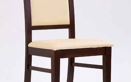 Dřevěná židle Sylwek 1 tmavý ořech - krémová (eko kůže)
