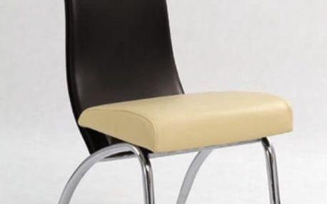 Kovová židle K2 béžovo-tmavě hnědá