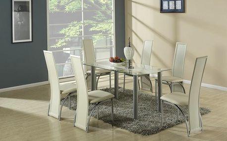 Skleněný jídelní stůl Talon béžová