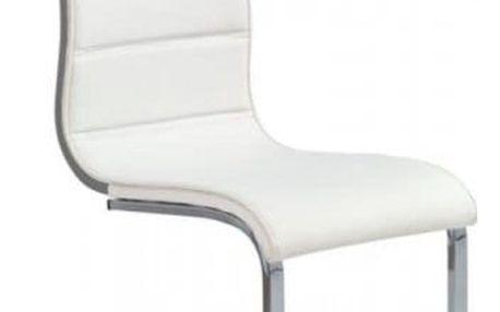 Kovová židle K104 bílá-šedá (eko kůže)