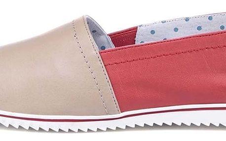 Béžovo-červené kožené loafers OJJU