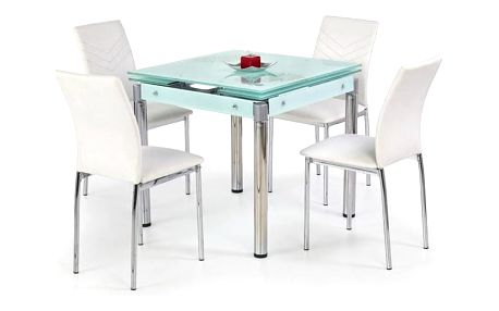 Skleněný jídelní rozkládací stůl Kent - chromovaná ocel mléčná