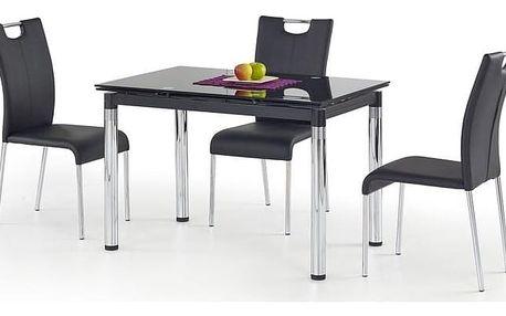 Skleněný jídelní rozkládací stůl L-31 černá