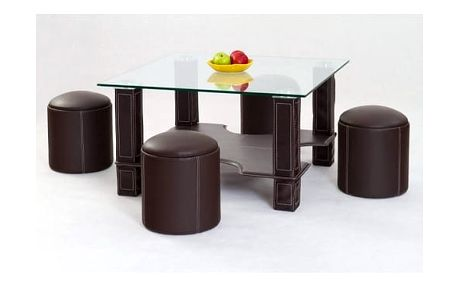 Konferenční stůl Megan s podsedáky tmavě hnědá