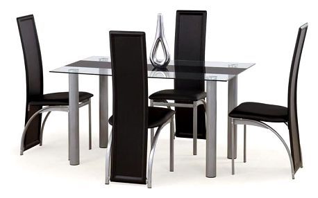 Skleněný jídelní stůl Talon černá